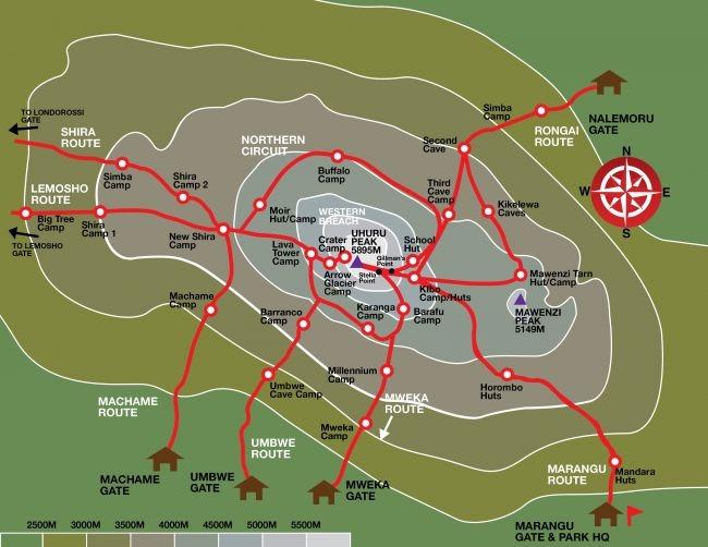 Маршруты восхождения на Килиманджаро