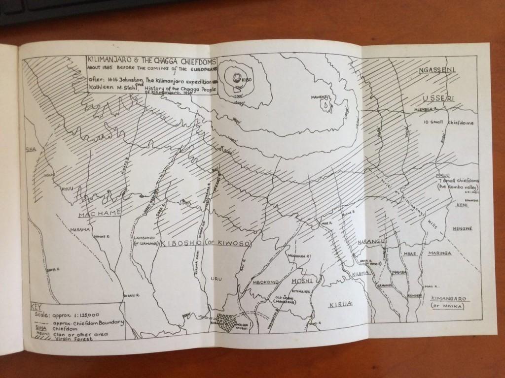 Различные племена народности Чагга. Карта из журнала 1965 года.